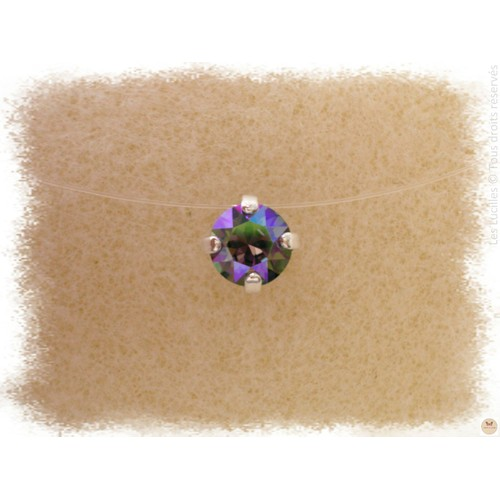 a2c8e200be3 Collier Ras De Cou Invisible - Solitaire - Strass Diamant Cristal - Nylon -  Réglable