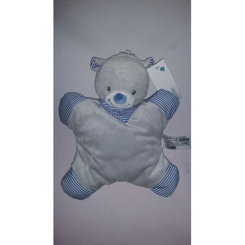Doudou Ours Ourson Bout chou Boutchou Monoprix Gris Blanc Bleu Rayé Jouet  Bebe Naissance Peluche Éveil Enfant Blanket , Soft Toys Plush 24 Cm c511200f8e2