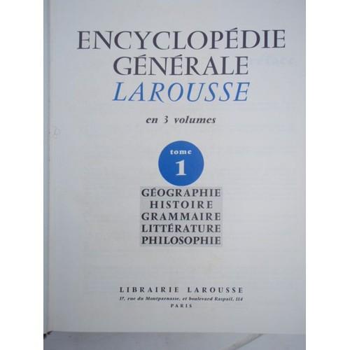 encyclopedie larousse en 3 volumes