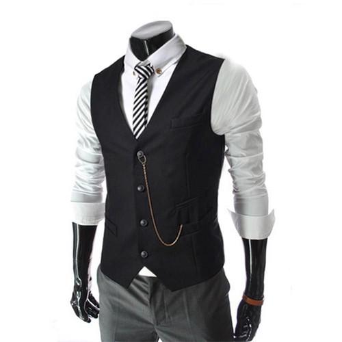 Homme Col V Casual Entreprise Rayures Sans Manche Gilet De Costume Avec  Boutons bd318994497a