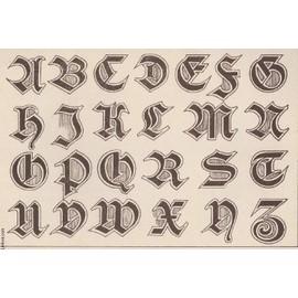 Alphabet Artistique gravure 19eme couleurs - la decoration artistique - 7° annee