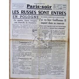 journal paris soir du 18 septembre 1939 fac simile n 5846 les russes sont entres en. Black Bedroom Furniture Sets. Home Design Ideas