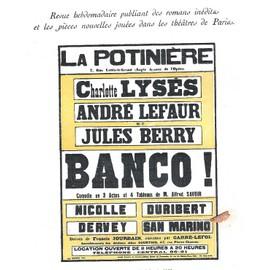 La Petite Illustration Th��trale N� 68 : Banco !, Pi�ce D'alfred Savoir