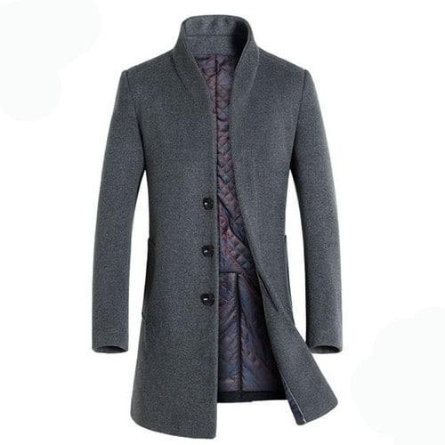 manteau laine gris