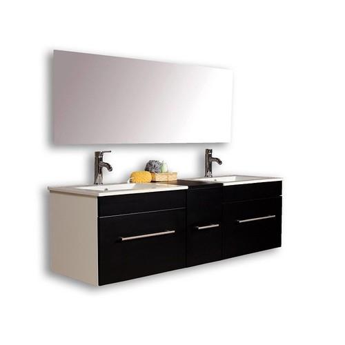 Bon Meuble Salle Bain Double Vasque Noir