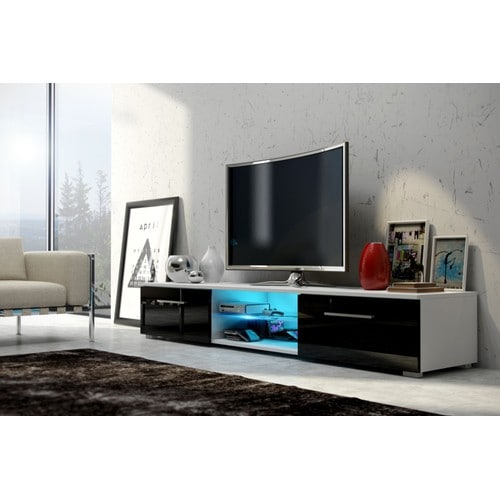meuble tv noir brillant pas cher. Black Bedroom Furniture Sets. Home Design Ideas