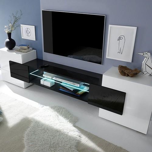 Meuble Tv Noir Et Blanc Laque Pas Cher Ou D Occasion Sur Rakuten