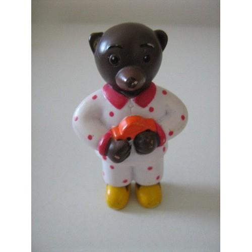 petit ours brun figurine en pyjama blanc achat et vente rakuten. Black Bedroom Furniture Sets. Home Design Ideas