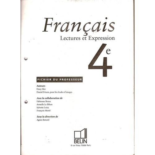 Francais 4eme Livre Du Professeur Avec Cassette Edition 1998