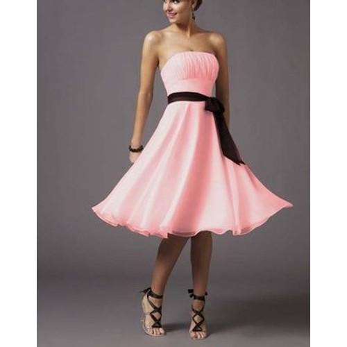 Robe de soiree mousseline rose