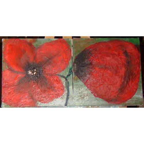 Tableau peinture contemporaine deux toiles coquelicot - Papier pour peinture huile ...