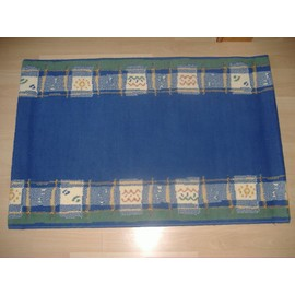Tapis Rectangulaire Bleu Marine Et Jaune 100 X 68 Cm Pas Cher