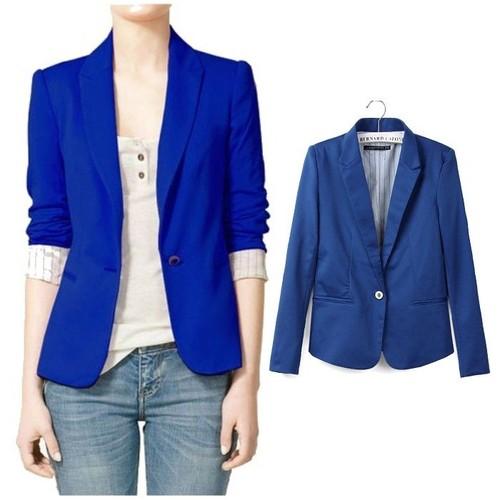 Veste cuir femme bleu roi