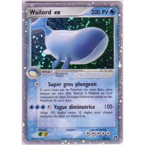 Wailord ex rarissime carte a 200pv 100 100 neuf et d - Carte pokemon wailord ...