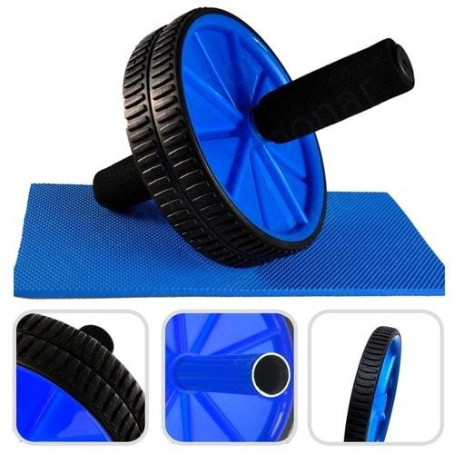 Ab roller avec tapis pour genoux roue abdominale bleu charge maximale 100 kg - Tapis de musculation abdominale ...
