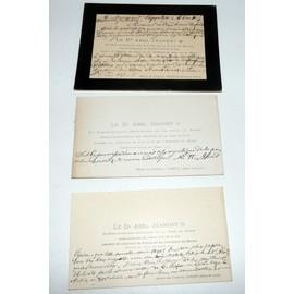 Abel Jeandet Ecrivain Erudit Verdun Sur Le Doubs Lot De 3 Cartes Visite Manuscrites Dont