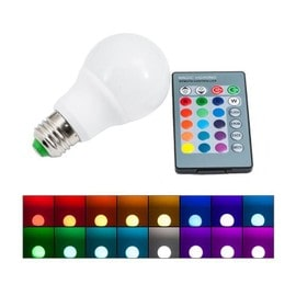 ac85 265v e27 5w rgb ampoule led 16 changement de couleur ampoule t l commande ir 24 keys. Black Bedroom Furniture Sets. Home Design Ideas