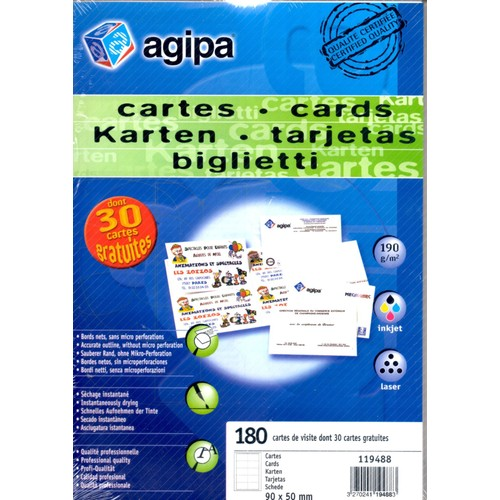 Agipa Pochette De 150 Cartes Visite Bords Lisses