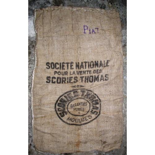 ancien sac en toile de jute soci t nationale pour la vente des scories thomas. Black Bedroom Furniture Sets. Home Design Ideas