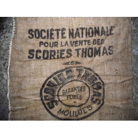 ancien sac en toile de jute soci t nationale pour la vente des scories thomas. Black Bedroom Furniture Sets. Home Design Ideas