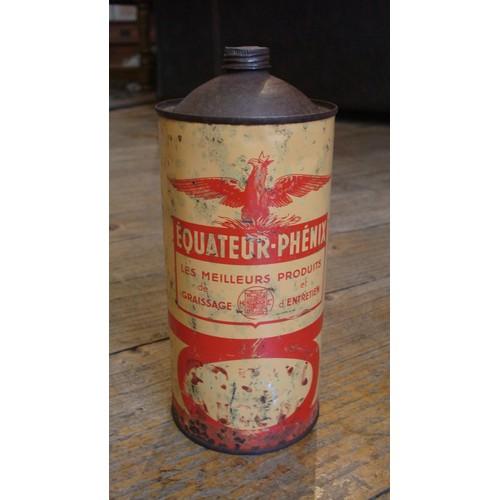 ancienne boite graisse bidon huile quot equateur phenix quot ca 1930
