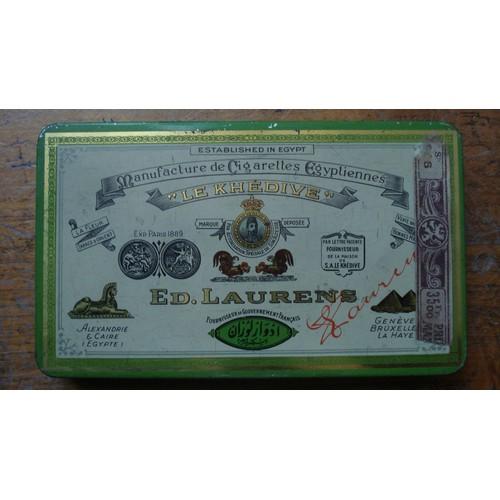 Ancienne boite metal cigarettes egyptiennes le khedive ed laurens ca 1930 - Boite metal ancienne ...