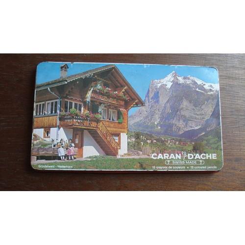 Ancienne boite metal tole 12 crayons caran d 39 ache decor alpin ca 1960 - Boite metal ancienne ...