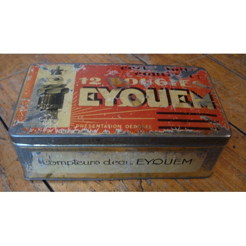 Ancienne boite metal tole bougie eyquem modele rare ca 1950 - Boite metal ancienne ...