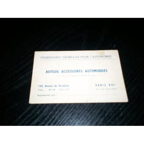 Ancienne Carte De Visite Fournitures Generales Pour Lautomobile Auteuil Accessoires Automobiles