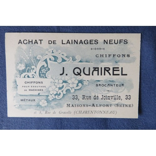 Ancienne Carte De Visite Ou Publicitaire J Quairel