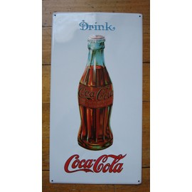 ancienne plaque metal tole emboutie drink coca cola ca 1980. Black Bedroom Furniture Sets. Home Design Ideas
