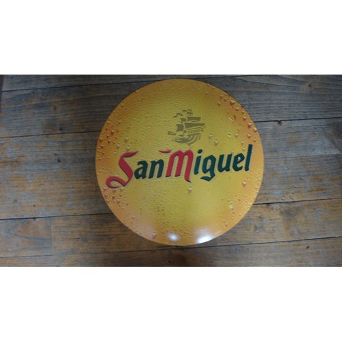 ancienne plaque publicitaire metal tole bomb e biere san miguel. Black Bedroom Furniture Sets. Home Design Ideas