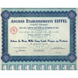 Anciens Etablissements Eiffel- Action De Deux Mille Cinq Cents Francs Au Porteur