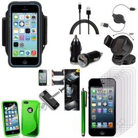 Apple Iphone 5 5s Lot Etui Housse Coque Pochette Accessoires Silicone Gel Support Chargeur Voiture Films Verre Trempe Stylet Brassard Sport