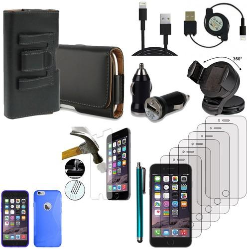 apple iphone 6 lot etui housse coque pochette accessoires silicone gel support chargeur voiture. Black Bedroom Furniture Sets. Home Design Ideas