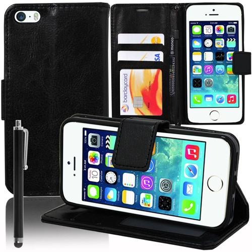 apple iphone se etui portefeuille livre housse coque pochette support vid o cuir pu stylet noir. Black Bedroom Furniture Sets. Home Design Ideas