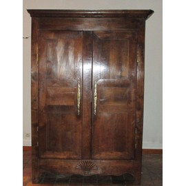 armoire chevill e ancienne venant de bretagne ge exact inconnu 3 tag res 1 tiroir coquille. Black Bedroom Furniture Sets. Home Design Ideas