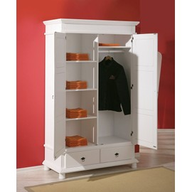 armoire danz penderie meuble tag res rangement bois massif blanc dim 1160x1990x570. Black Bedroom Furniture Sets. Home Design Ideas