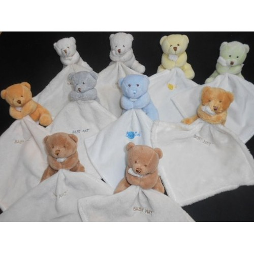Gris Caramel Choix Babynat Mouchoir Bleu Et Son Marron Ours Baby Au Blanc Jaune Nat' Doudou Peluche Beige Vert JlKcTF1