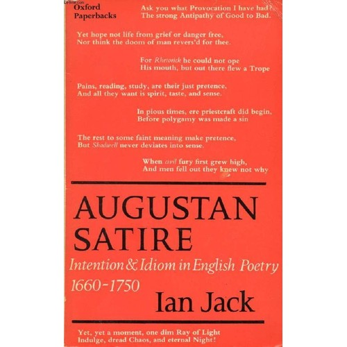 augustan satire After a brief foray into augustan satire (principally swift) and into a george eliot  who is read more darkly than usual back from theophrastus.