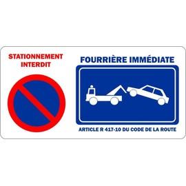 autocollant sticker portail garage stationnement interdit fourriere panneau. Black Bedroom Furniture Sets. Home Design Ideas
