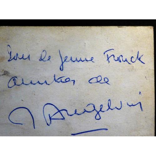 Autographe Sur Sa Carte De Visite Jacques Angelvin Animateur Television Inspirateur Par Vie Des Films Le Corniaud Gerard Oury Et French