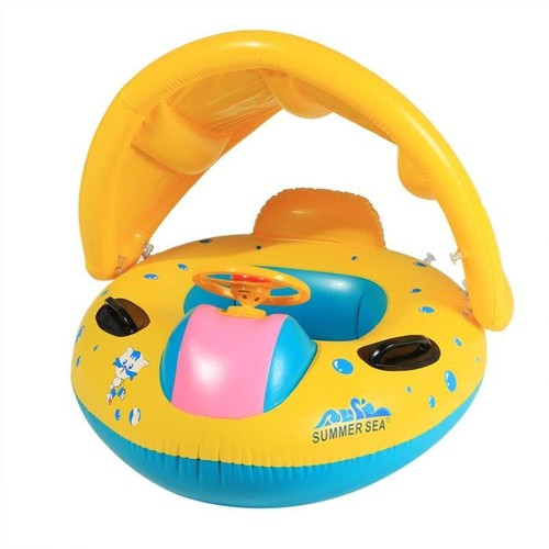 baignoire piscine gonflable pour b b s avec parasol jouet d 39 enfant plage en forme de bateau. Black Bedroom Furniture Sets. Home Design Ideas