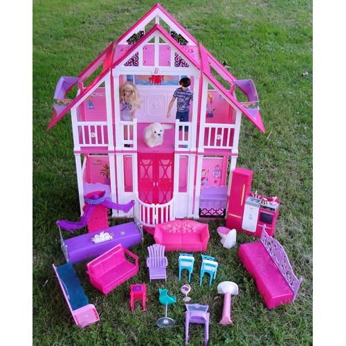 Barbie ma maison de reve avec barbie ken et leur chien mattel 2010 - Barbie et son chien ...