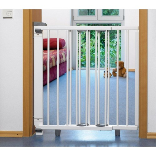 barri re de s curit pivotante bois blanc escalier 99 5 140 cm geuther. Black Bedroom Furniture Sets. Home Design Ideas
