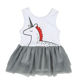 Bébé Enfant Fille Robe En Mousseline De Soie Gris Body Blanc Licorne Imprimé  Sans Manche Vêtement Été 3e3ce67a1c9