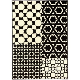 benuta tapis de salon moderne patchwork swing noir blanc 180x280 cm. Black Bedroom Furniture Sets. Home Design Ideas