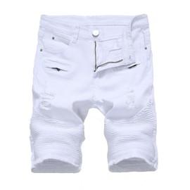 Unie Noir Fermeture Shorts Jeans Troué Bermuda En Homme Loisir Stretch Éclair Couleur Zs0645b Short SzqMpUVG