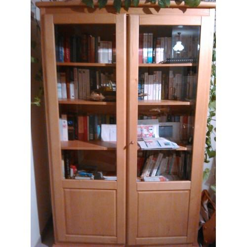 biblioth que vitrine bois aulne achat vente de mobilier rakuten. Black Bedroom Furniture Sets. Home Design Ideas