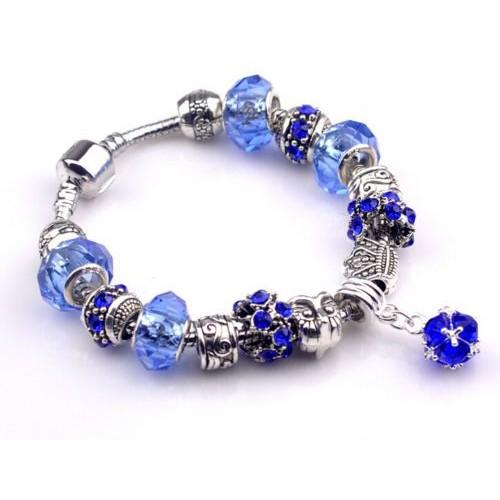 bijou bracelet gourmette avec charms perles bleu roi argent 925 tendance. Black Bedroom Furniture Sets. Home Design Ideas
